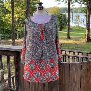 Eye catching red and turquoise tunic